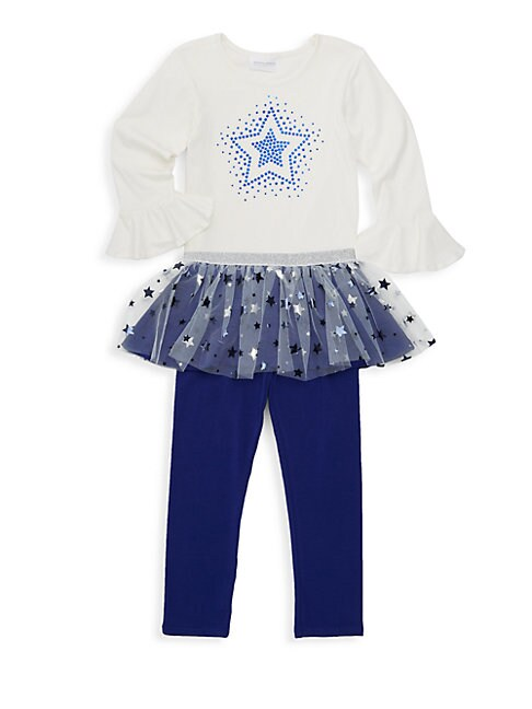Little Girls 2Piece Star Graphic Tee  Ruffled Leggings Set