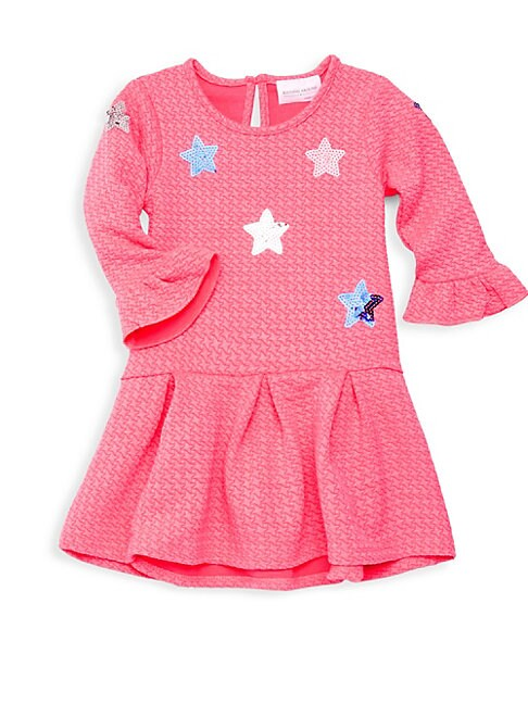 Little Girl's Textured Sequin Flare Dress