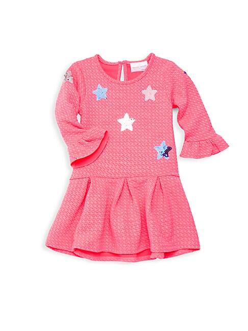 Baby Girl's Textured Sequin Flare Dress