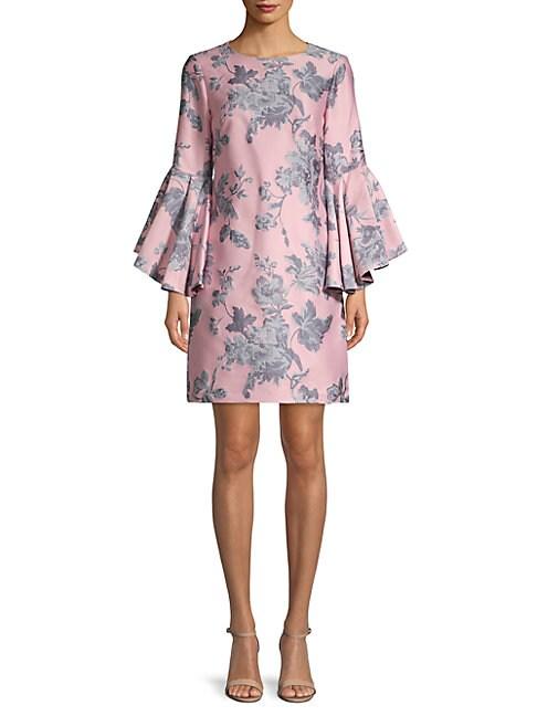 BELLE BADGLEY MISCHKA | Freya Floral Bell-Sleeve Shift Dress | Goxip