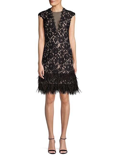 AIDAN BY AIDAN MATTOX | Feather-Trimmed Lace Sheath Dress | Goxip