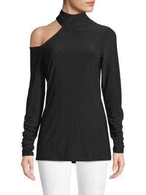 Cold-Shoulder Turtleneck Top, Black