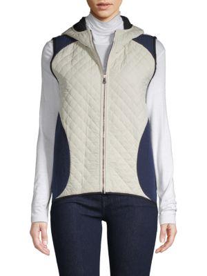 BECKEN Quilted Zip-Front Vest in Cream Multi