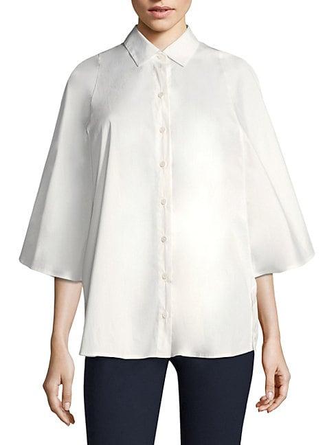BECKEN Luxe Poplin Poncho Blouse in White