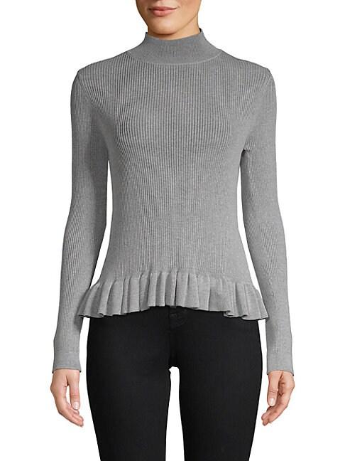 JOHN + JENN Levy Ruffle Mockneck Sweater in Heather Grey