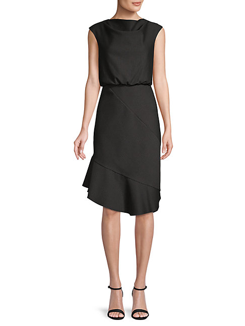 BELLE BY BADGLEY MISCHKA Pinstriped Blouson Dress in Black