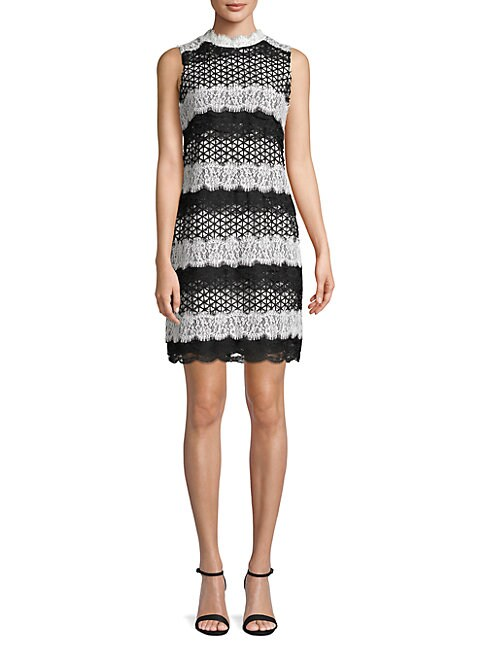 BELLE BY BADGLEY MISCHKA Classic Lace-Trimmed Sheath Dress in Black