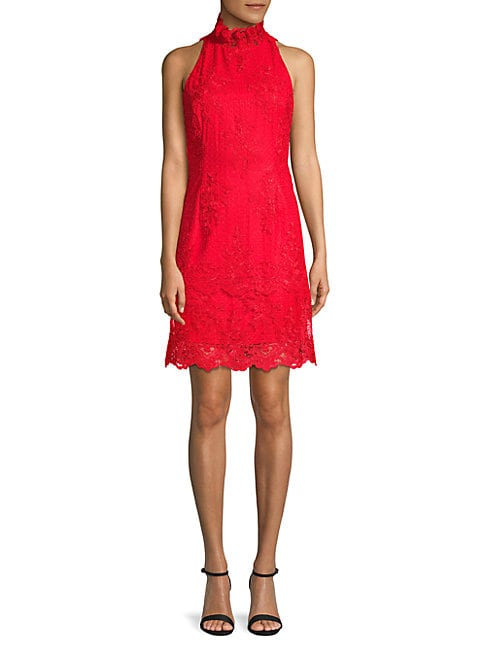 BELLE BY BADGLEY MISCHKA Scalloped Lace Halter Dress in Poppy
