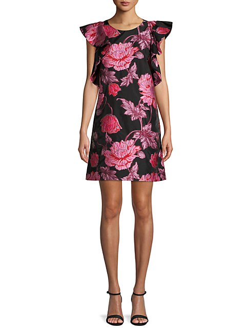 BELLE BY BADGLEY MISCHKA Ruffled Flutter-Sleeve Jacquard Dress in Fuchsia