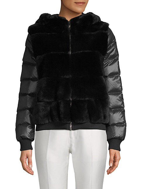 PERI LUXE | Rabbit Fur-Accented Puffer Jacket | Goxip