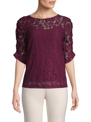Nanette Lepore Elbow-Puff Lace Top