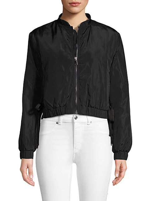 RENVY | Lace-Up Side Cropped Bomber | Goxip