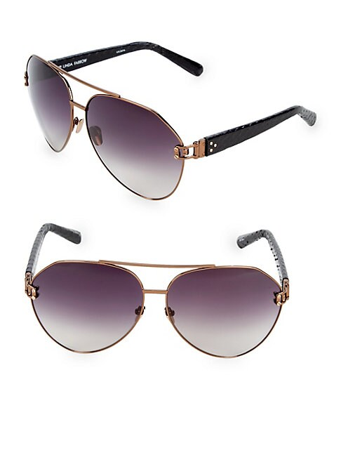 b89c0df8b35 Linda Farrow Luxe 69Mm Aviator Sunglasses In Shiny Bronze