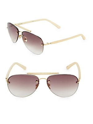 293a2dba9a8 Linda Farrow Luxe - Statement Bar 60MM Aviators Sunglasses