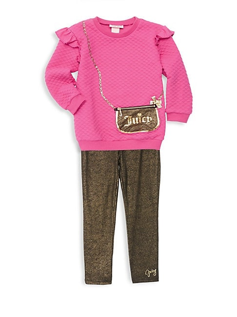 Little Girl's Two-Piece Purse Graphic Sweater and Metallic Leggings Set