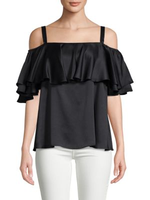 Temperley London Seabright Cold-Shoulder Silk Blouse