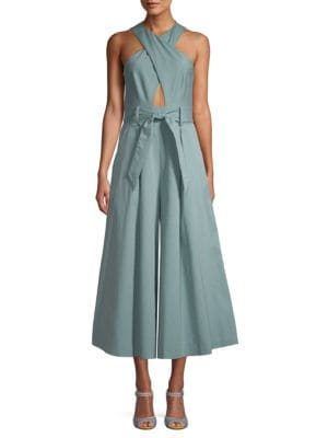 Temperley London Belted Wide Cropped Jumpsuit