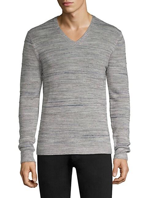 John Varvatos Linens Intarsia Tuck Stitch V-Neck Sweater