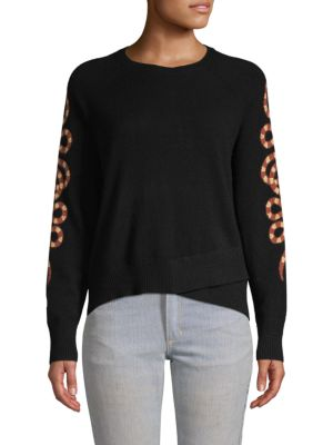 Skull Cashmere Serpent-Sleeve Cashmere Sweater