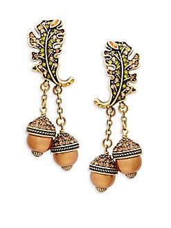 Heidi Daus - Crystal Oak Leaves & Acorn Drop Earrings