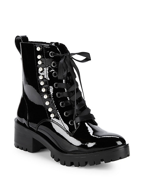 Preston Pearl Embellished Combat Boots