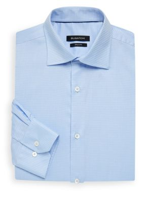 Shaped Fit Textured Dress Shirt in Sky