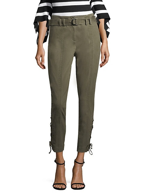 CROSLEY   Scripted Side Lace-Up Buckle Pants   Goxip