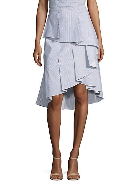 PROSE & POETRY Whitley Ruffle Skirt in Navy White