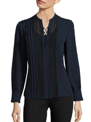 Rebecca Taylor Lace-Up Lace-Trim Silk Georgette Top