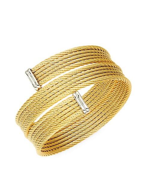 ALOR   Classique 18K Yellow Gold & Stainless Steel Bracelet   Goxip