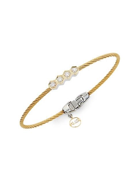 ALOR   18K Gold, Stainless Steel & Diamond Bracelet   Goxip