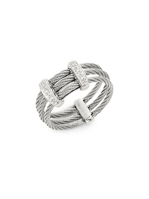 ALOR   18K White Gold, Stainless Steel & Diamond Cable Ring   Goxip