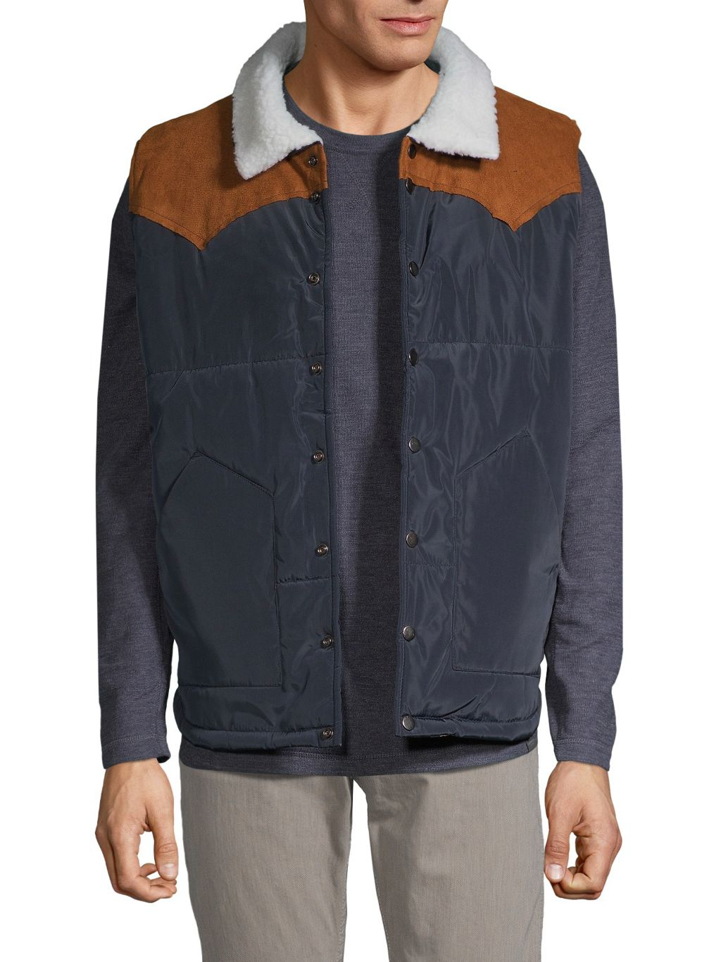 DNM Collection Faux-Shearling Collar Puffer Vest