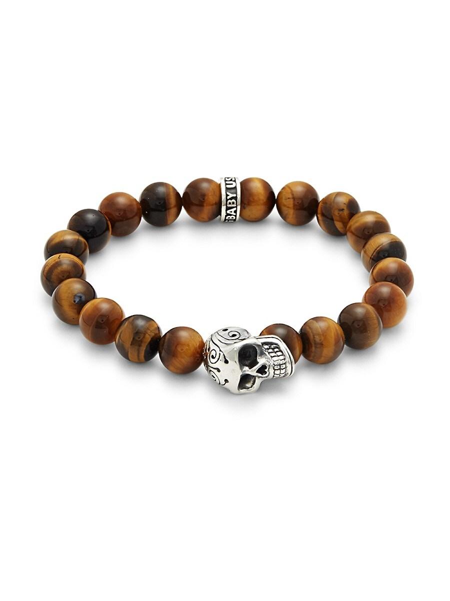 Men's Sterling Silver & Tiger's Eye Beaded Bracelet