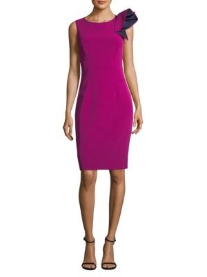 NERO BY JATIN VARMA Asymmetric Sheath Dress in Fuchsia