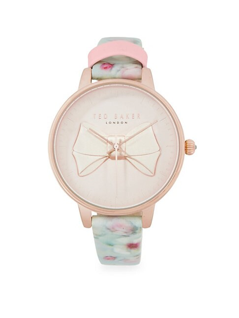 FLORAL LEATHER-STRAP WATCH