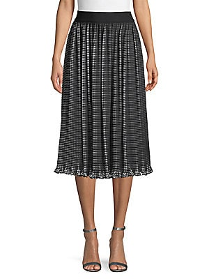 Check Print Pleated Skirt by Alice + Olivia