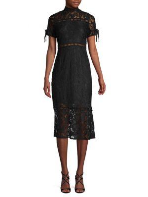 Nsr Michelle Lace Illusion Midi Dress