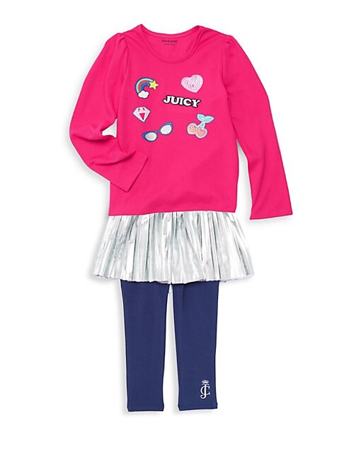 Little Girl's Two-Piece Metallic Peplum Sweater & Leggings Set
