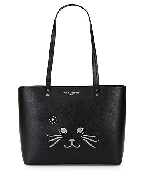 Cat Tote in Black Silver