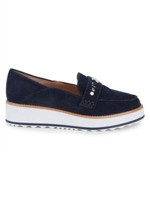 Bernardo Suede Platform Loafers