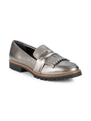 Bernardo Kilted Leather Loafers