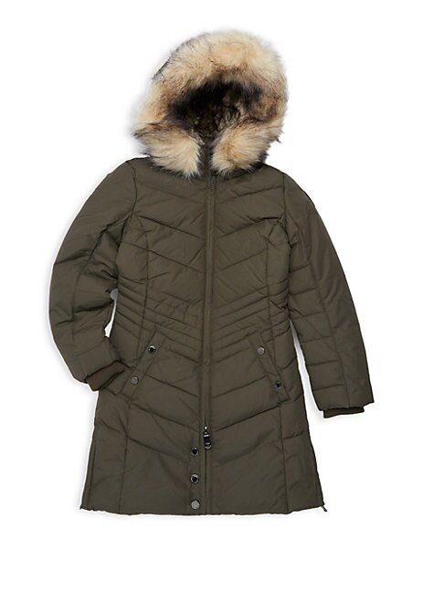 Girls Chelsea Hooded Faux Fur Trimmed Puffer Coat