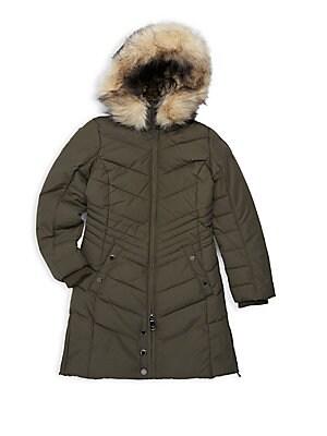 7ba83c2626c9d MICHAEL Michael Kors - Girl s Faux-Fur Trim A-line Puffer Coat ...