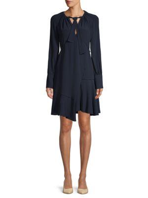 Derek Lam Asymmetric Silk-Blend Dress