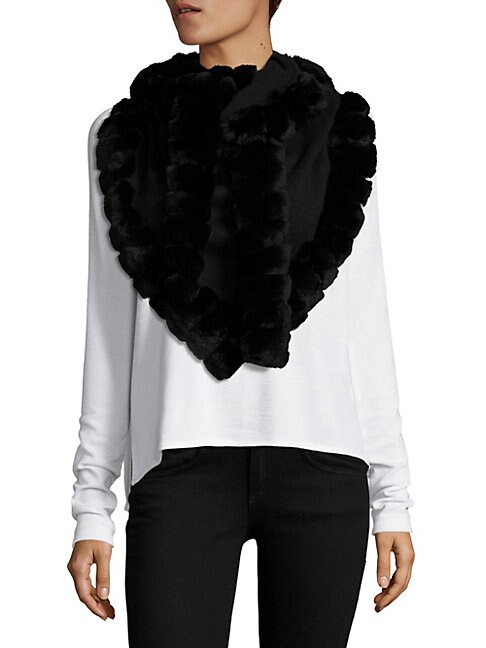 Glamourpuss Scarves Bohemian Rabbit Fur-Trimmed Scarf