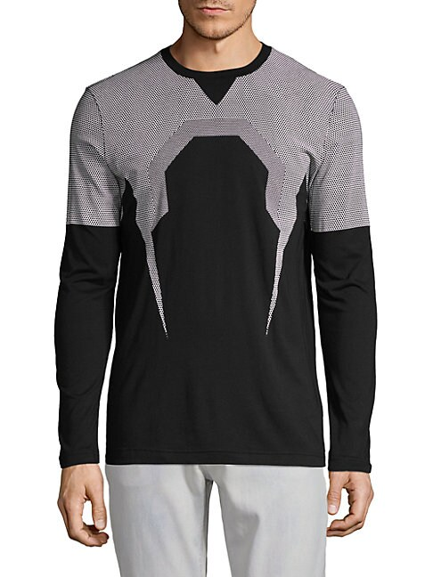 Blackbarrett K-Bolt Mesh Print Long-Sleeve Tee