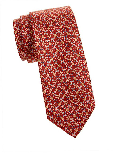 Graphic Floral SIlk Tie