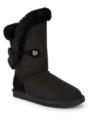 AUSTRALIA LUXE COLLECTIVE Nordic Shearling & Suede Buckle Short Boots in Black