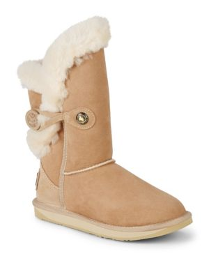 AUSTRALIA LUXE COLLECTIVE Nordic Shearling & Suede Buckle Short Boots in Sand